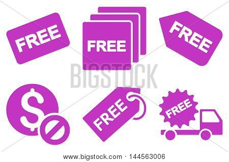 Free Tag vector icons. Pictogram style is violet flat icons with rounded angles on a white background.
