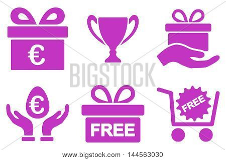 Gift vector icons. Pictogram style is violet flat icons with rounded angles on a white background.