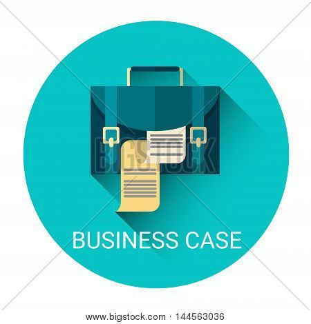 Case With Document Business Icon Flat Vector Illustration