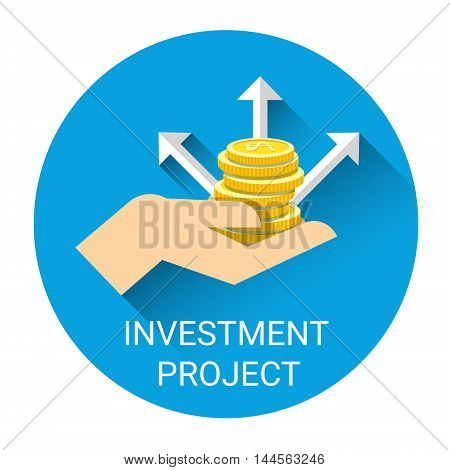 Hand With Money Coin Investment Project Business Icon Flat Vector Illustration