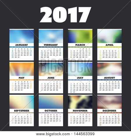2017 Colorful Full Year Calendar Design With Different Backgrounds For Every Month