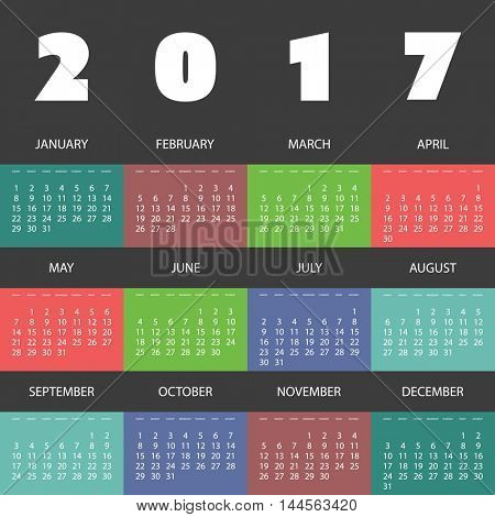 2017 Colorful Calendar Design With Different Backgrounds For Every Month