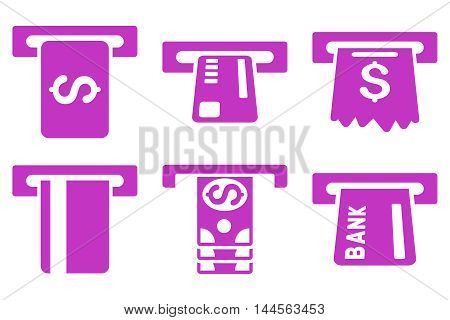 Pay Box vector icons. Pictogram style is violet flat icons with rounded angles on a white background.