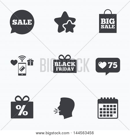 Sale speech bubble icon. Black friday gift box symbol. Big sale shopping bag. Discount percent sign. Flat talking head, calendar icons. Stars, like counter icons. Vector