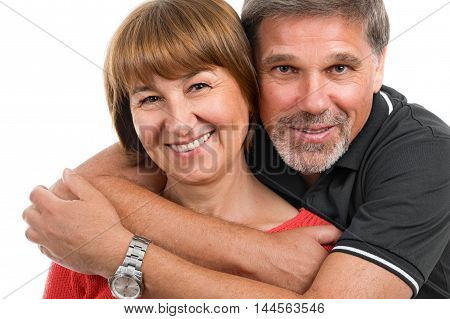 Man and woman. Portrait of a beautiful happy adult couples on a white background