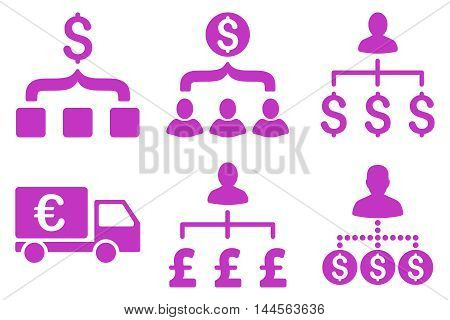 Payment Collector vector icons. Pictogram style is violet flat icons with rounded angles on a white background.