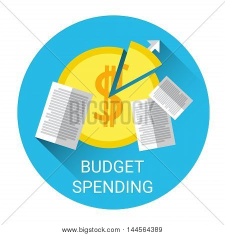 Budget Spending Financial Business Icon Flat Vector Illustration