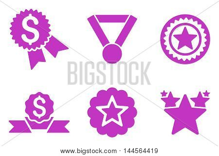 Reward vector icons. Pictogram style is violet flat icons with rounded angles on a white background.