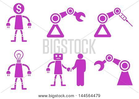 Robot vector icons. Pictogram style is violet flat icons with rounded angles on a white background.