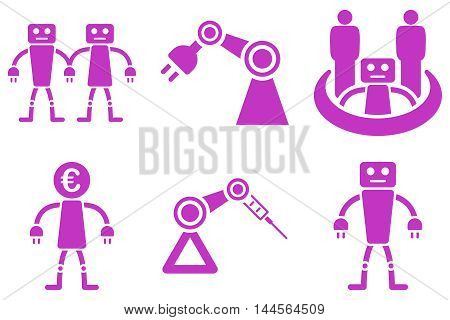 Robotics vector icons. Pictogram style is violet flat icons with rounded angles on a white background.
