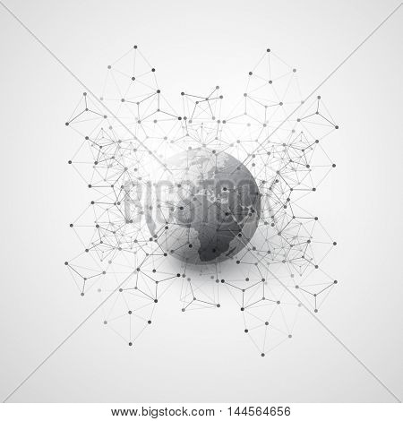 Abstract Cloud Computing and Global Network Connections Concept Design with Earth Globe, Transparent Geometric Mesh, Wireframe - Illustration in Editable Vector Format