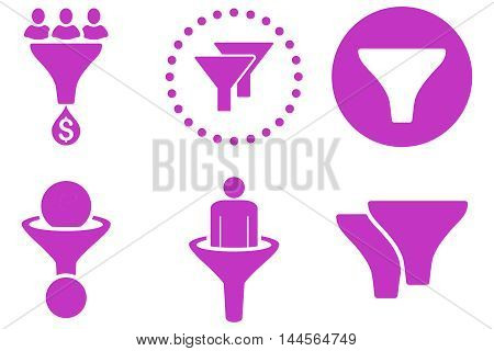 Sales Filter vector icons. Pictogram style is violet flat icons with rounded angles on a white background.