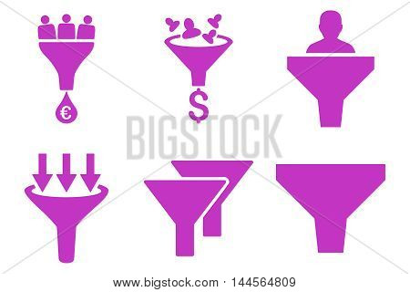 Sales Funnel vector icons. Pictogram style is violet flat icons with rounded angles on a white background.