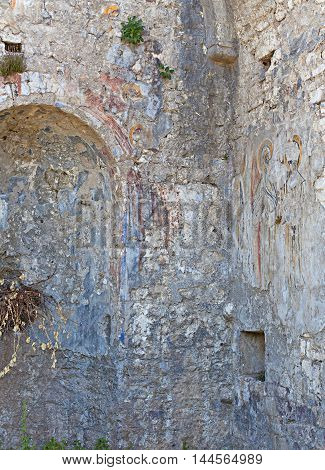Fragment of the old frescoes in Stari Bar, Montenegro