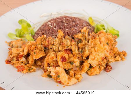 Fried chilly paste with chicken and vegetable fresh sunflower plant none oil added healthy clean food