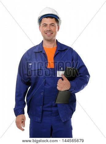 Construction worker with clipboard, isolated on white