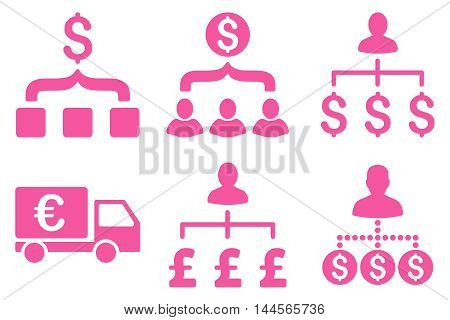Payment Collector vector icons. Pictogram style is pink flat icons with rounded angles on a white background.