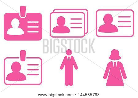 Person Account Card vector icons. Pictogram style is pink flat icons with rounded angles on a white background.