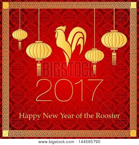A vector illustration of year of rooster design for Chinese New Year celebration. Card with Gold Chicken