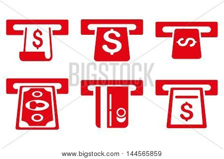 ATM Withdraw vector icons. Pictogram style is red flat icons with rounded angles on a white background.