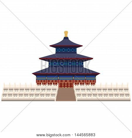 Temple of Heaven in Beijing China. Flat cartoon style historic sight showplace attraction web site vector illustration.