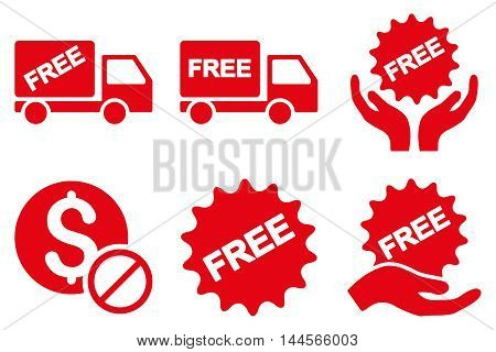 Free of Charge vector icons. Pictogram style is red flat icons with rounded angles on a white background.