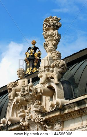 Richly sculptured Rampart Pavilion. Zwinger Palace (architect Matthaus Poppelmann) - royal palace 17 century in Dresden.