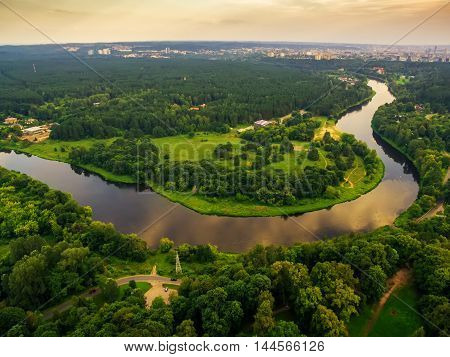 aerial top view of Neris river and parks in Vilnius Lithuania