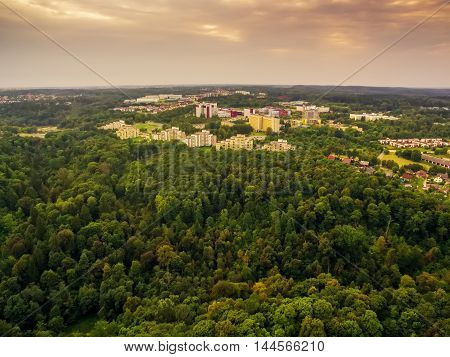 aerial top view of parks in Vilnius Lithuania