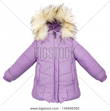 Women winter jacket isolated on white background.