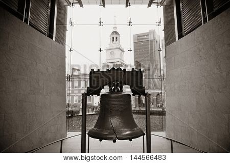 Liberty Bell and Independence Hall in Philadelphia