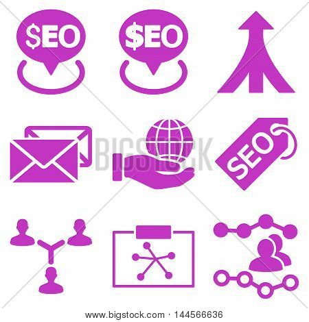 Seo vector icons. Pictogram style is violet flat icons with rounded angles on a white background.