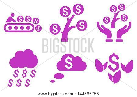Success Startup vector icons. Pictogram style is violet flat icons with rounded angles on a white background.
