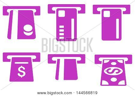 Ticket Terminal vector icons. Pictogram style is violet flat icons with rounded angles on a white background.