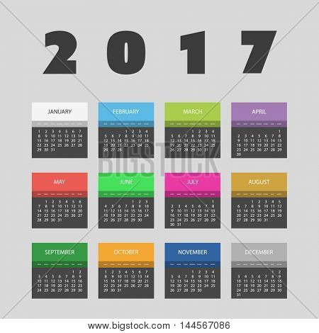 2017 Colorful Calendar Design With Different Colors For Every Month