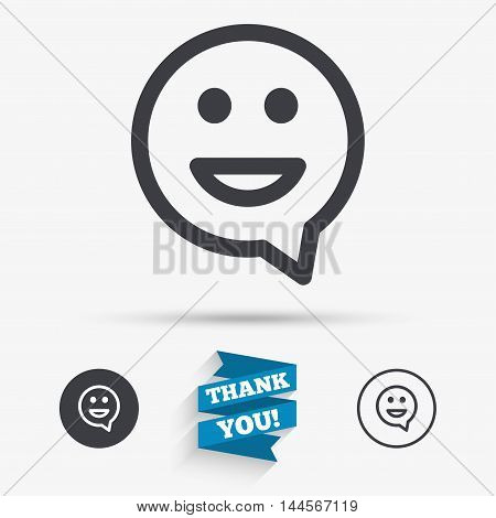 Happy face chat speech bubble symbol. Smile icon. Flat icons. Buttons with icons. Thank you ribbon. Vector