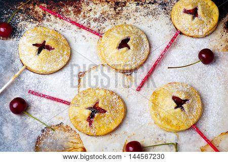 fruit pops pies . top view. selective focus