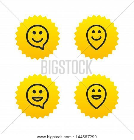 Happy face speech bubble icons. Smile sign. Map pointer symbols. Yellow stars labels with flat icons. Vector
