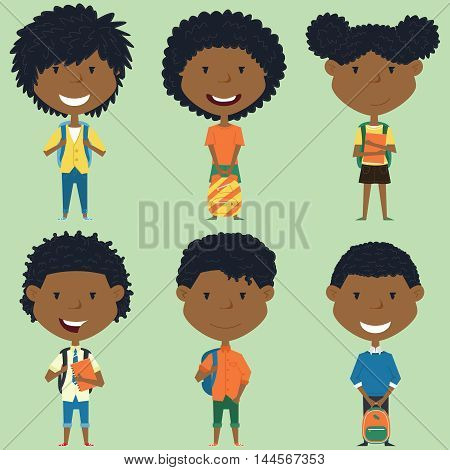 African american school boys and girls standing with books and backpacks. Vector collection of kids characters. Cute pupils set.