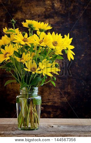 Rudbeckia Bright Yellow Flowers Bouquet On Dark Background