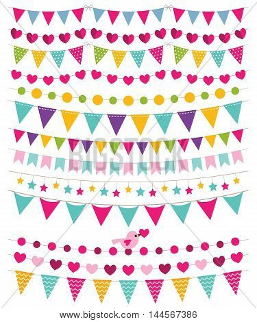 Birthday party bunting banners, isolated elements set