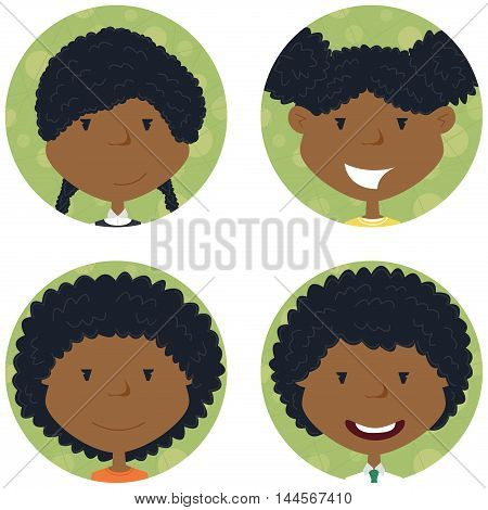 African american school girls avatar collection. Vector portraits of classmates. Cute student icon set.