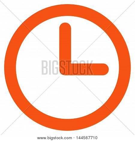 Time vector icon. Style is contour flat icon symbol, orange color, white background.