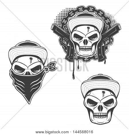 Set of gangsta skulls isolated on white background. Design element for t-shirt print poster sticker. Vector illustration.