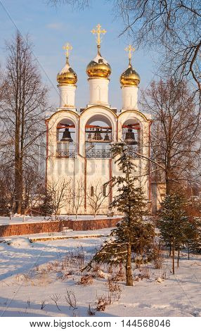 The bell tower at St. Nicholas Monastery in Pereslavl Zalessky in winter
