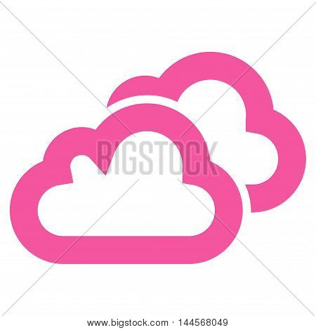 Clouds vector icon. Style is contour flat icon symbol, pink color, white background.