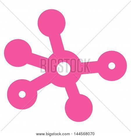 Connections vector icon. Style is stroke flat icon symbol, pink color, white background.