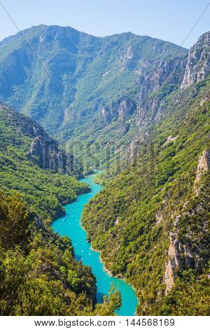 Canyon of Verdon, Provence, France. Emerald water of the river is flowing at the bottom of the gorge