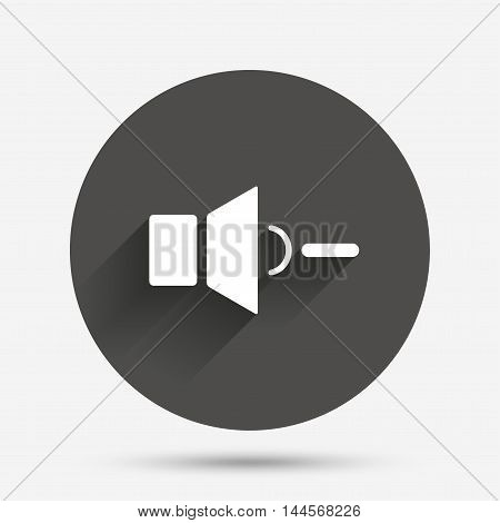 Speaker low volume sign icon. Sound symbol. Circle flat button with shadow. Vector