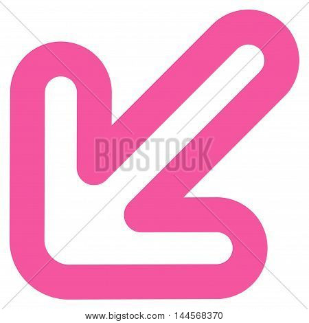 Left-Down Arrow vector icon. Style is contour flat icon symbol, pink color, white background.
